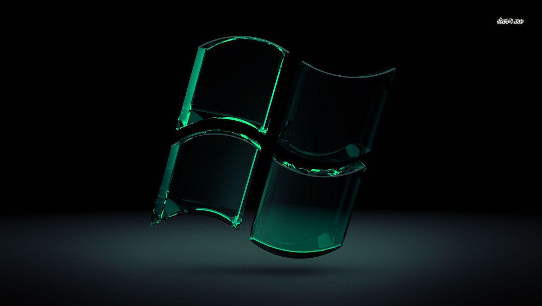 Green Glass Windows Logo Computer Wallpaper Black Hd Wallpaper Desktop Wallpaper Black Background Hd Wallpaper