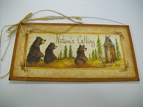 Natures Calling Country Bathroom Sign Outhouse Lodge Bath Decor Moon ...