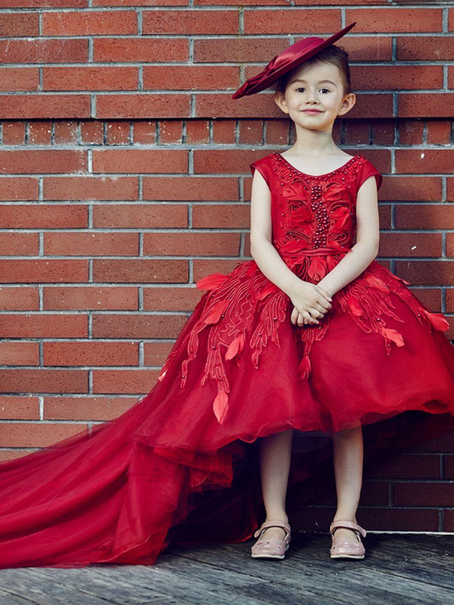 7fe1096cc Ericdress Beading Appliques High Low Ball Gown Flower Girl Dress #Ericdress  Reviews