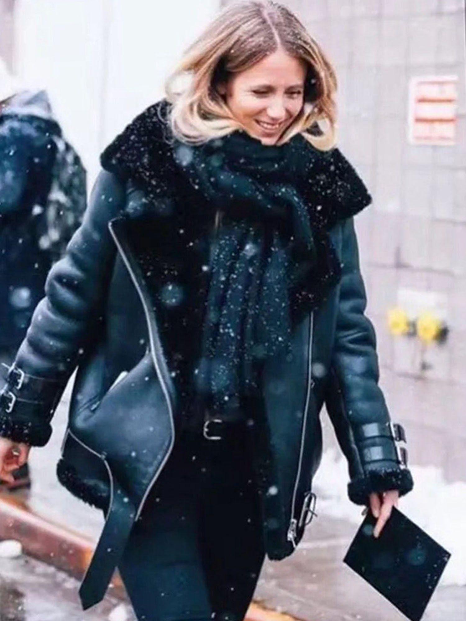Faux Leather Bomber Jacket Women Teddy Aviator Jacket Black Leather