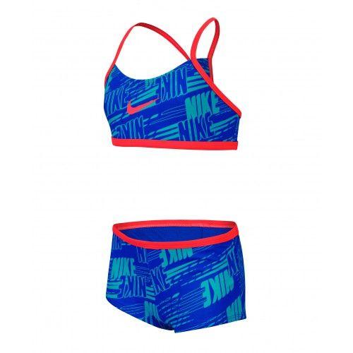 bba136d049b8 Nike Swim Girls' Nike Print Racerback Bikini Two Piece Set Hyper Cobalt