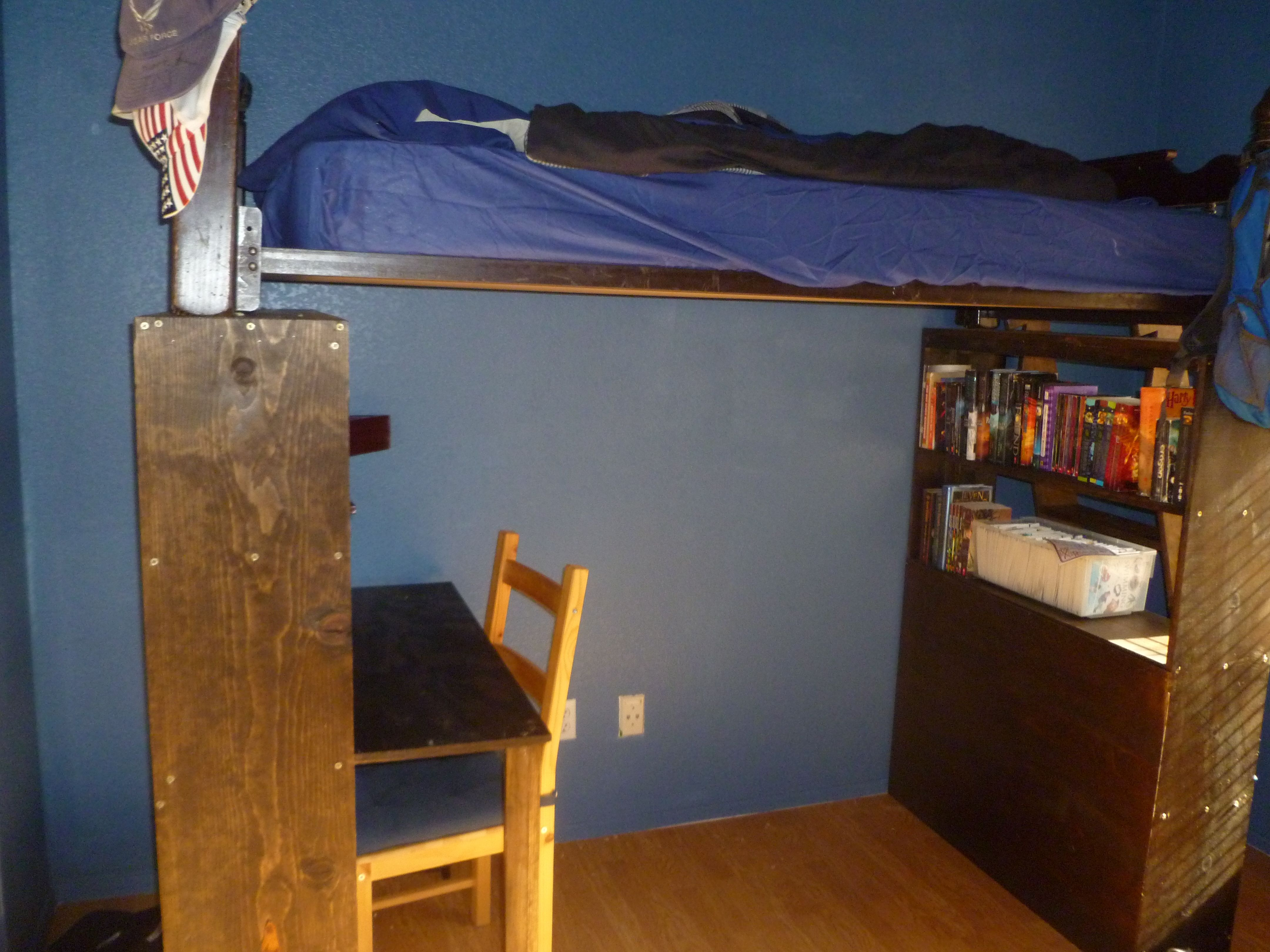 Desk/Book Shelf Loft Bed Risers- 3 of 3, finished look