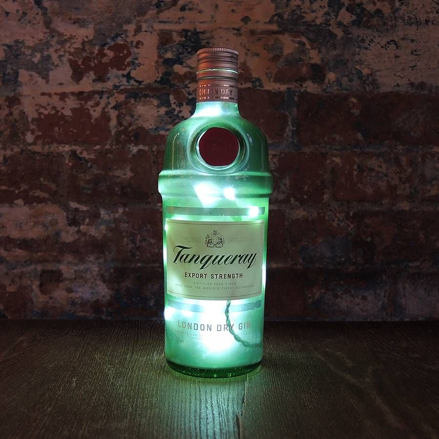 Upcycled Tanqueray Gin Bottle Lamp By Reupcycled