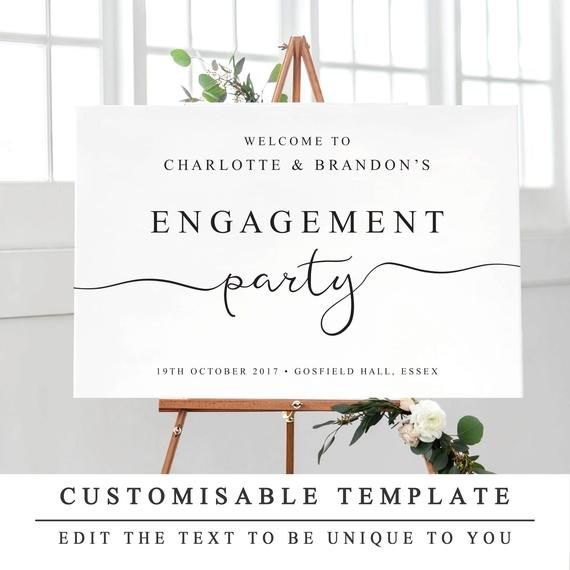Personalised Engagement Party Sign, Printable Welcome to Our Engagement Sign, DIY Wedding Engagement Party Template 5 Sizes INSTANT DOWNLOAD #engagementparty