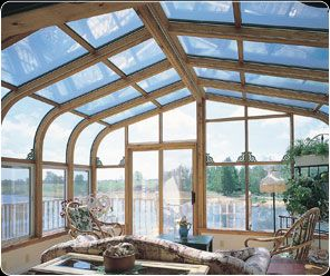 Wood Interior Glass Roof Curved Eave Sunrooms Patio Enclosures For Bay Area Homeowners Roof Shingles Roof Architecture Glass Roof