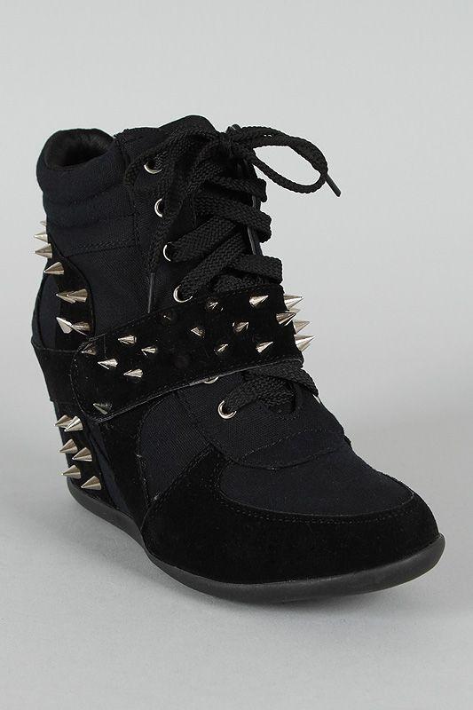 ba797ca15 Dana-10 Studded Spike Velcro Lace Up Wedge Sneaker $38.50 | Shoes ...