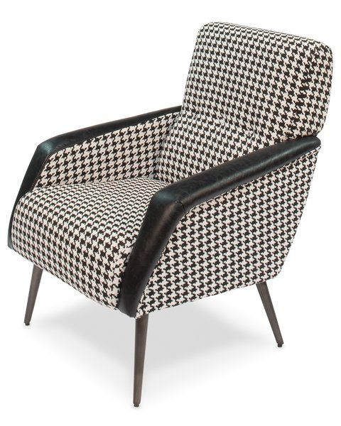 Houndstooth Armchair W Leather And Metal Black Upholstered