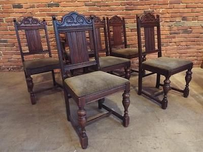 Oak Jacobean Style Dining Chairs Set 6 Lot 195 Jacobean Furniture