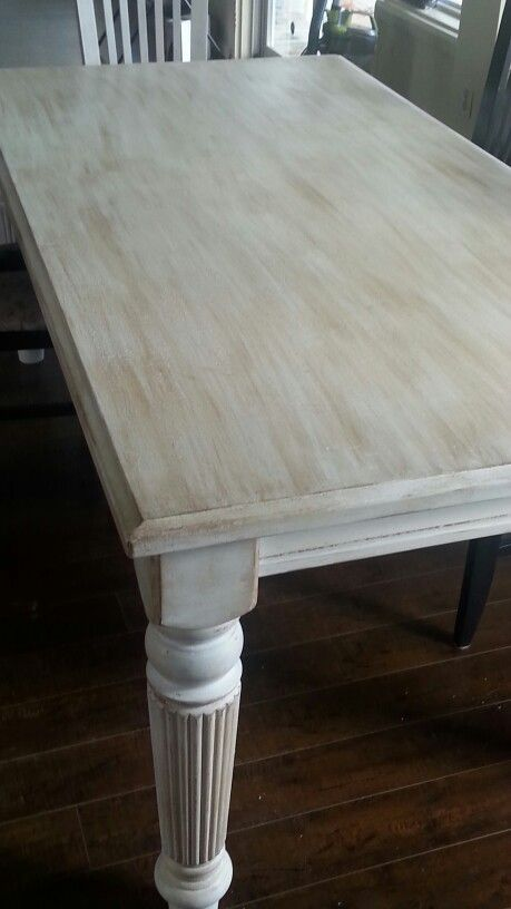 Table repeints avec peinture a la craie meuble pinterest mobilier de salon peinture - Peinture pour meuble en pin ...