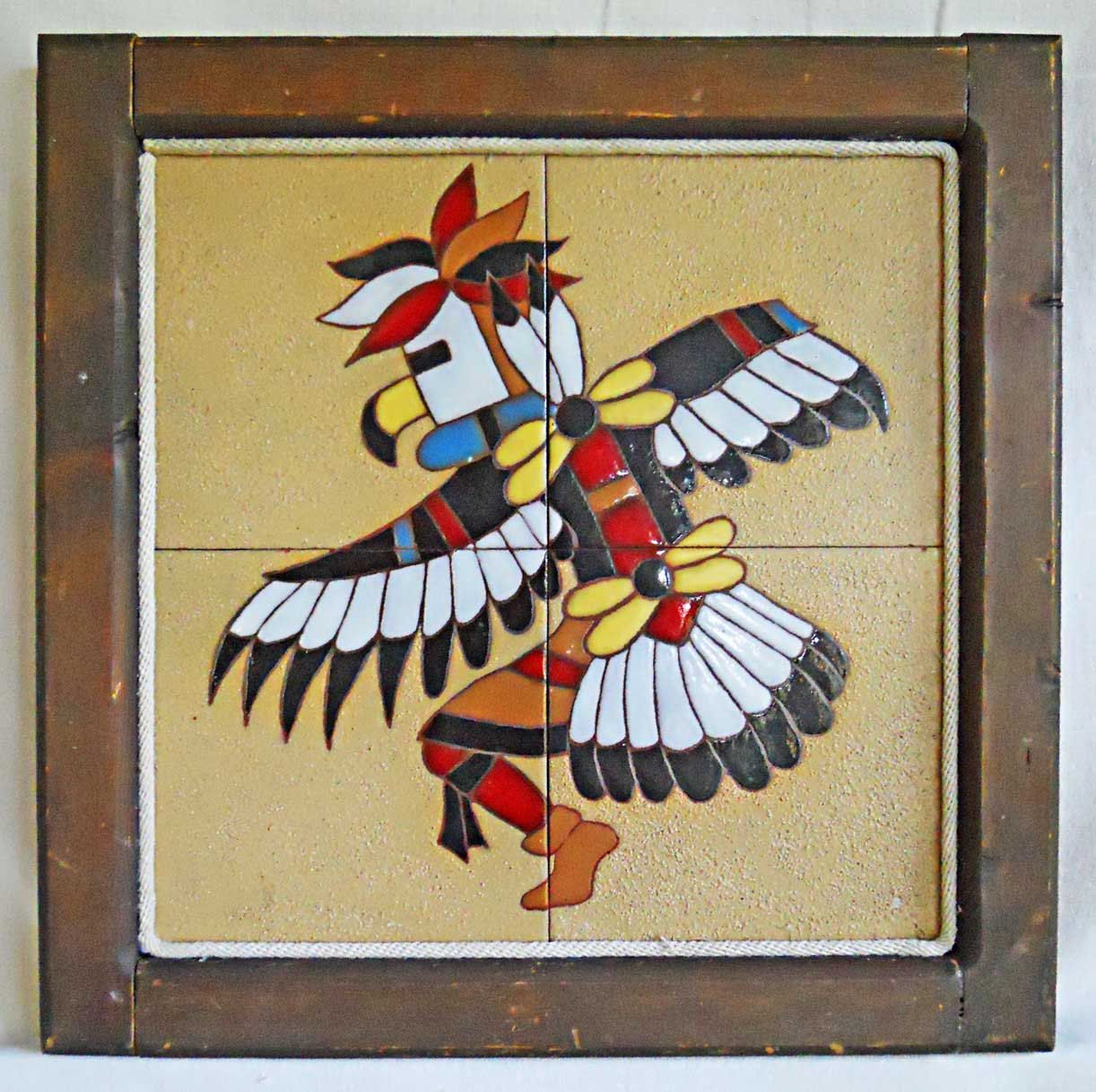 Native American Vintage 4 Tiles Table Top Indian Ceremonial Eagle ...