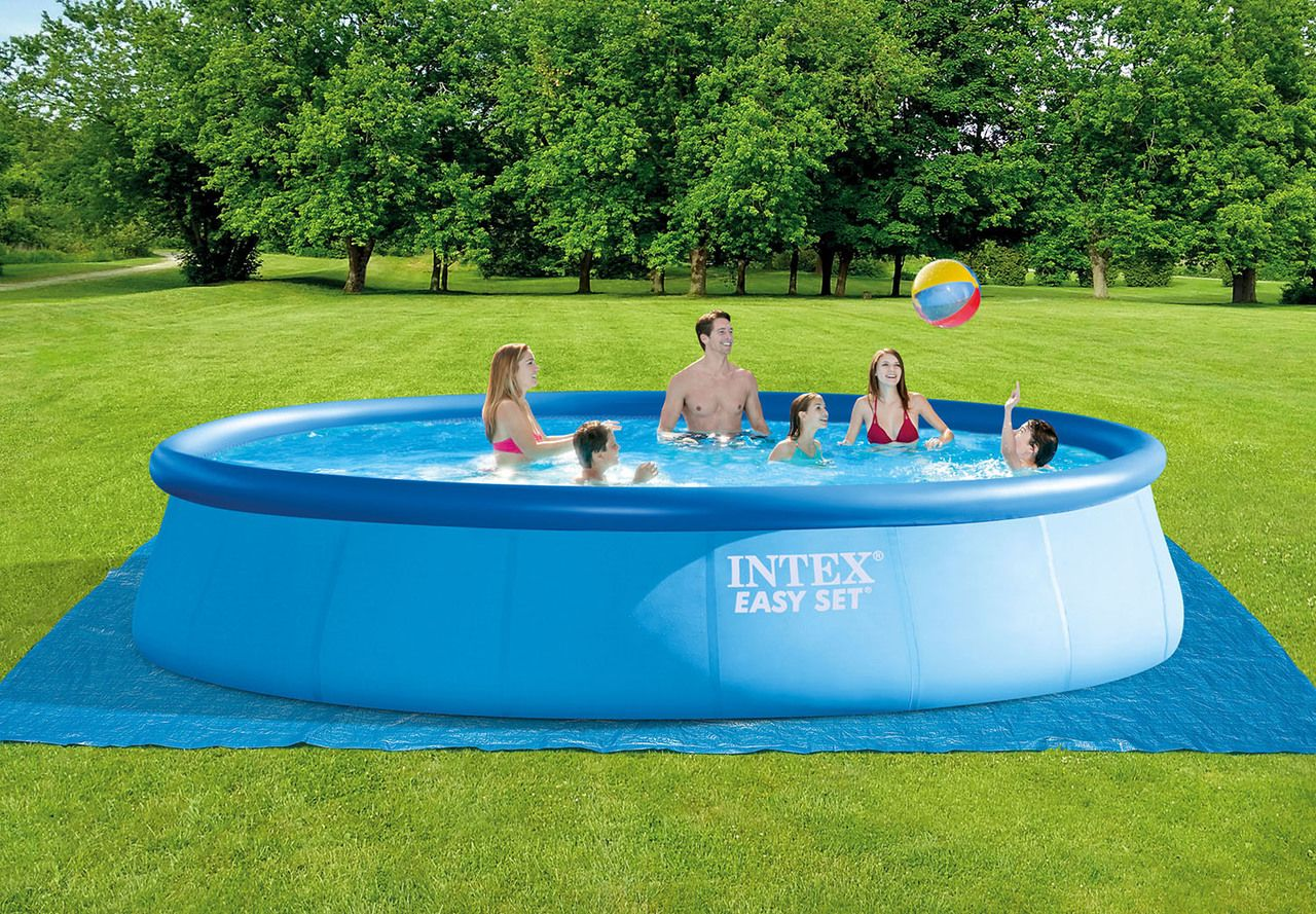 18ft X 48in Easy Set Pool Set Intex Above Ground Pools Pools The Home Depot In 2020 Easy Set Pools Pool Intex
