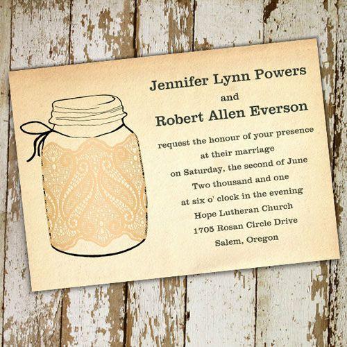 fall mason jars wedding invitations with lace ewi243 - Outdoor Wedding Invitations