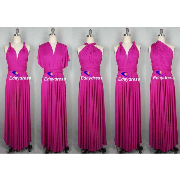 Maxi Full Length Bridesmaid Fuschia Pink Infinity Dress Convertible Wrap Dress Multiway Long Dre Infinity Dress Bridesmaid Infinity Dress Infinity Wrap Dresses
