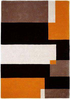 Modern Rugs Com Brown White Black Orange Abstract Modern Rug