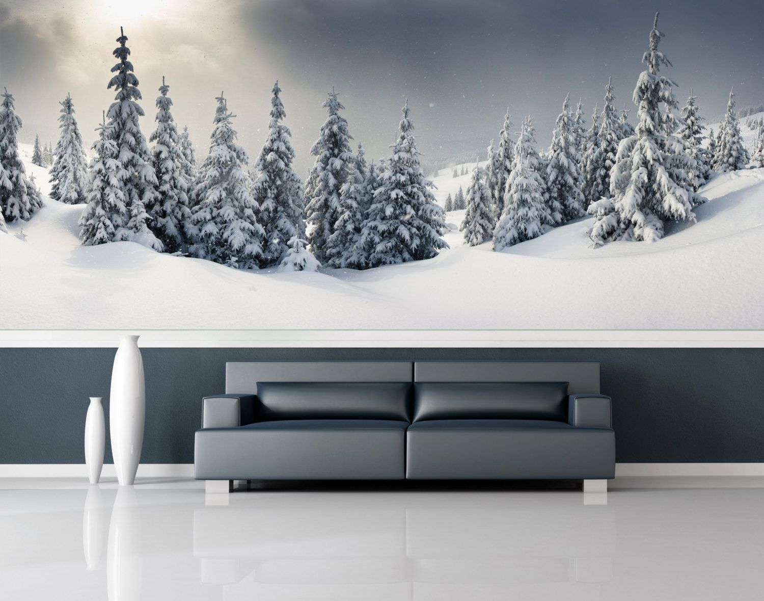 Snow forest wall mural repositionable peel stick wall paper snow forest wall mural repositionable peel stick wall paper wall covering by styleawall amipublicfo Gallery