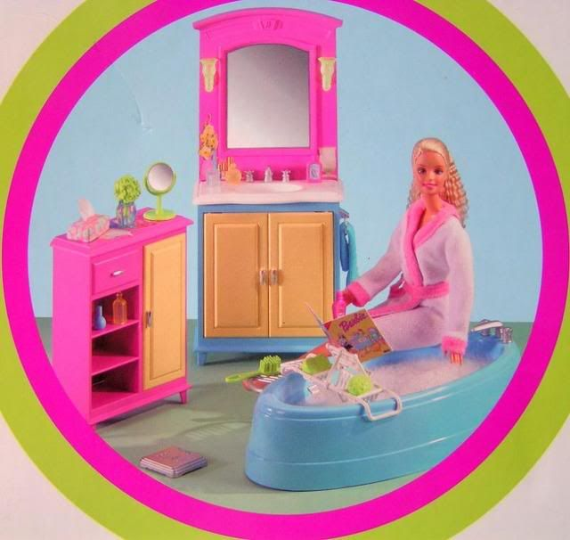 Image Detail For  Barbie Decor Collection Doll House Bathroom Furniture Bath  Vanity .