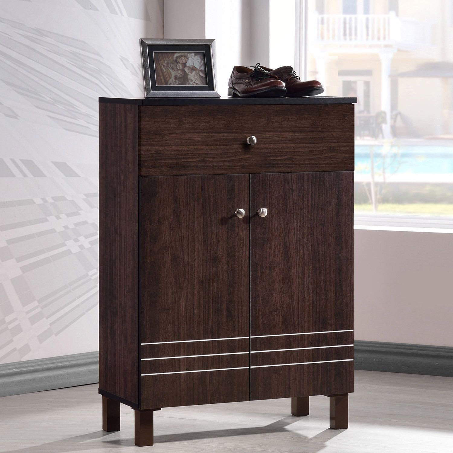 4ea349b6814 Baxton Studio Riker Contemporary Wenge Shoe Cabinet With 2 Doors And 1  Drawer (Shoe Cabinet-Wenge Brown) (Metal)