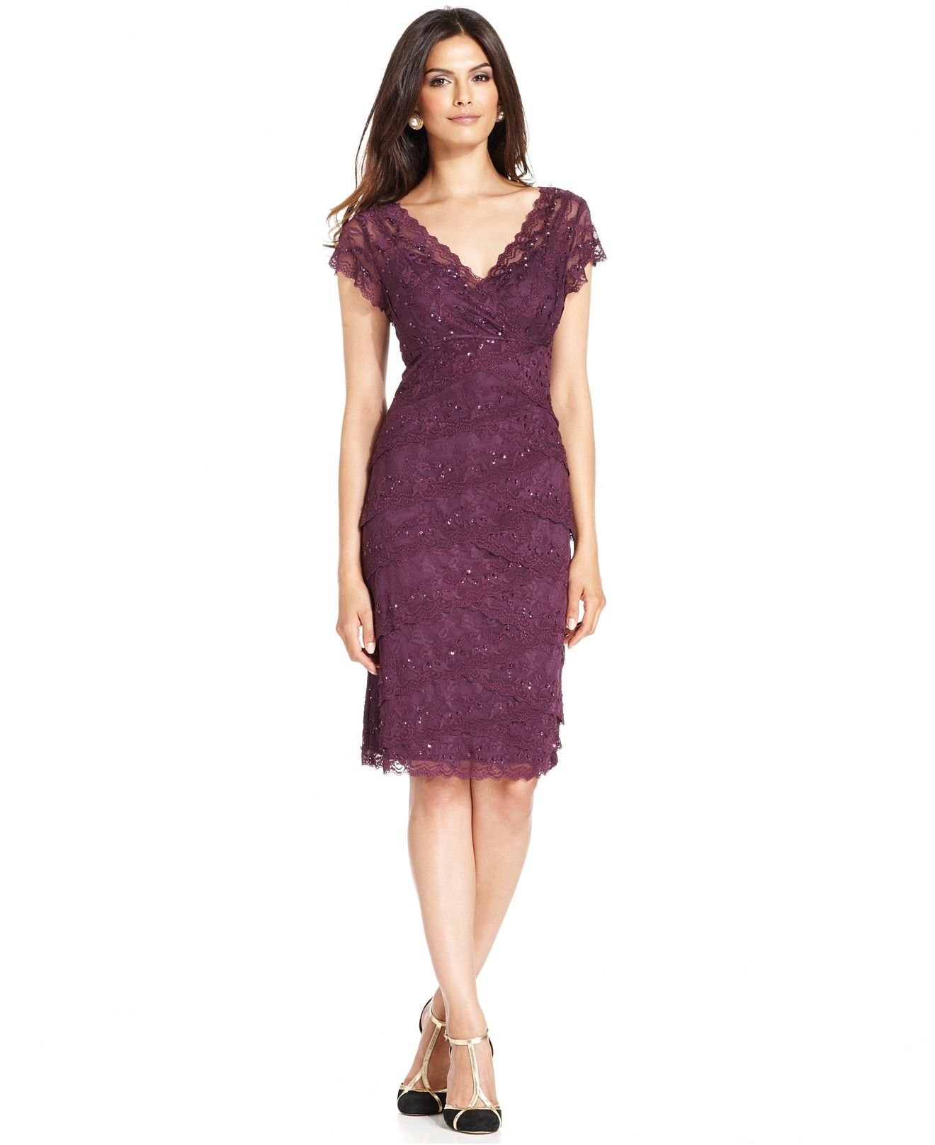 Lace dress purple  Marina CapSleeve Lace Dress  Dresses  Women  Macyus  Wedding