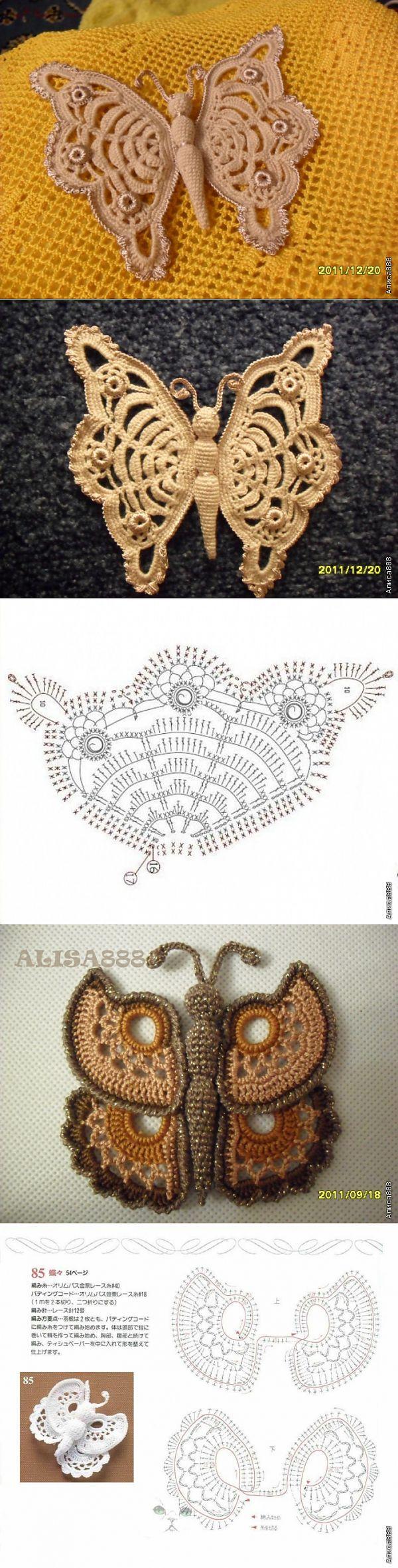 Любимые вязаные штучки. | Mariposas, Ganchillo y Tejido