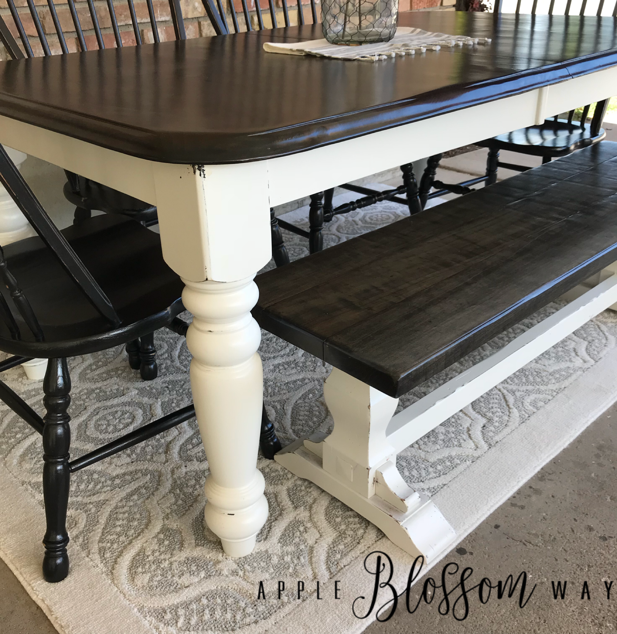 Farmhouse dining table with white dove and black. Ebony stained