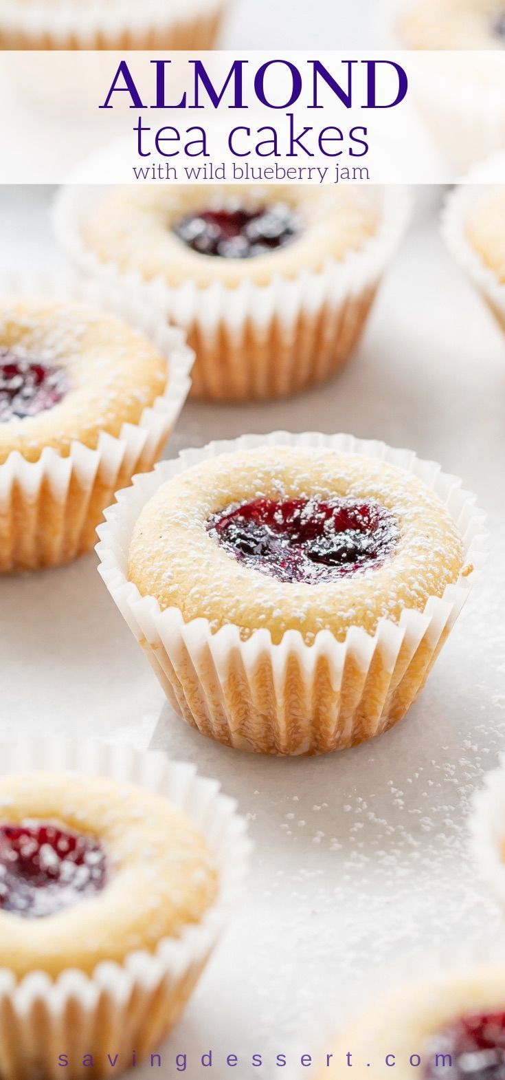 Almond Tea Cakes with Wild Blueberry Jam  tender little buttery gems with great texture and loads of flavor from the almond extract and almond flour 56787645291163633