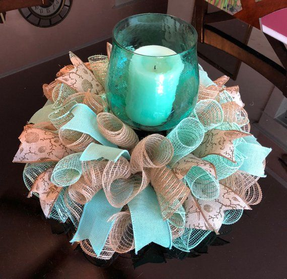 17 Beach/Summer Deco Mesh Centerpiece/Candle Holder in Burlap & Mint Green