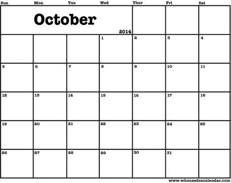 Printable calendars For the Home Pinterest October 2014