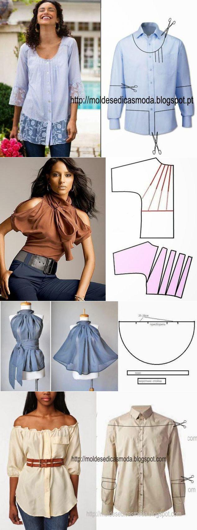 transformar una camisa | costura | Pinterest | Camisas, Costura y ...