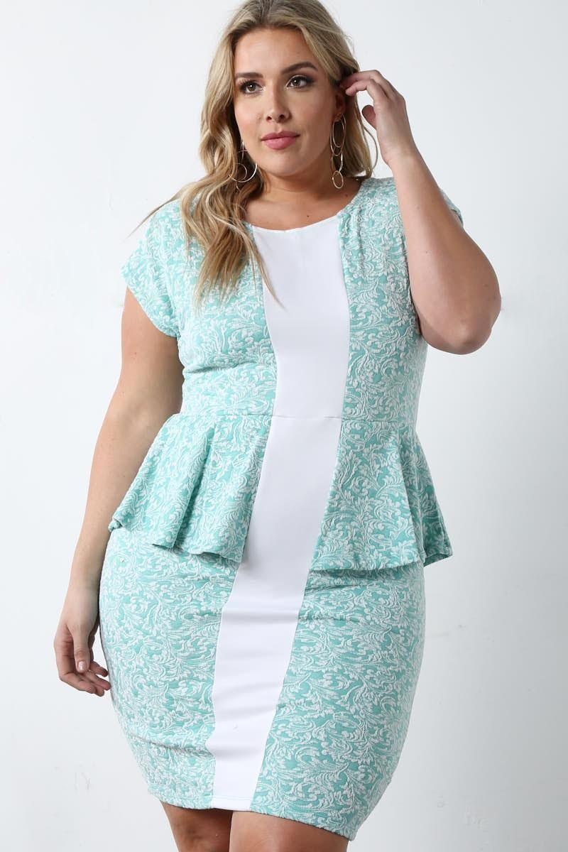 Have a stylish day with this elegant plus size mini dress! Features ...