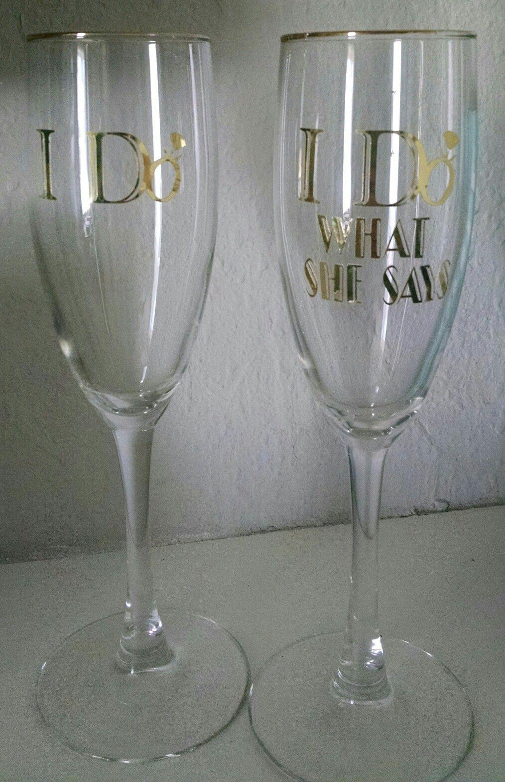 I do. I do what she says. Champagne glasses