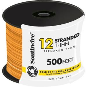 Southwire 500 Ft 12 Gauge Stranded Thhn Wire Orange 22970857 At The Home Depot Parts For Projects Wire Electrical Wiring Cable