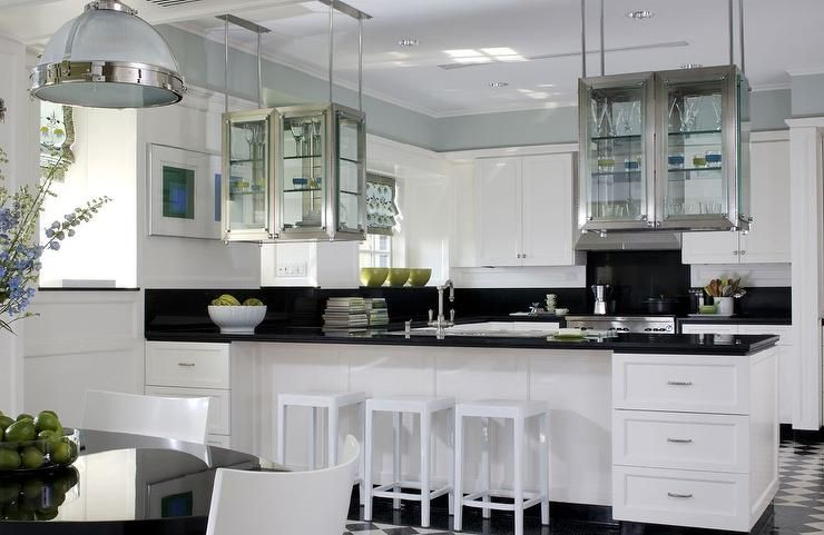 Amazing Kitchen Features Stainless Steel Hanging Cabinets