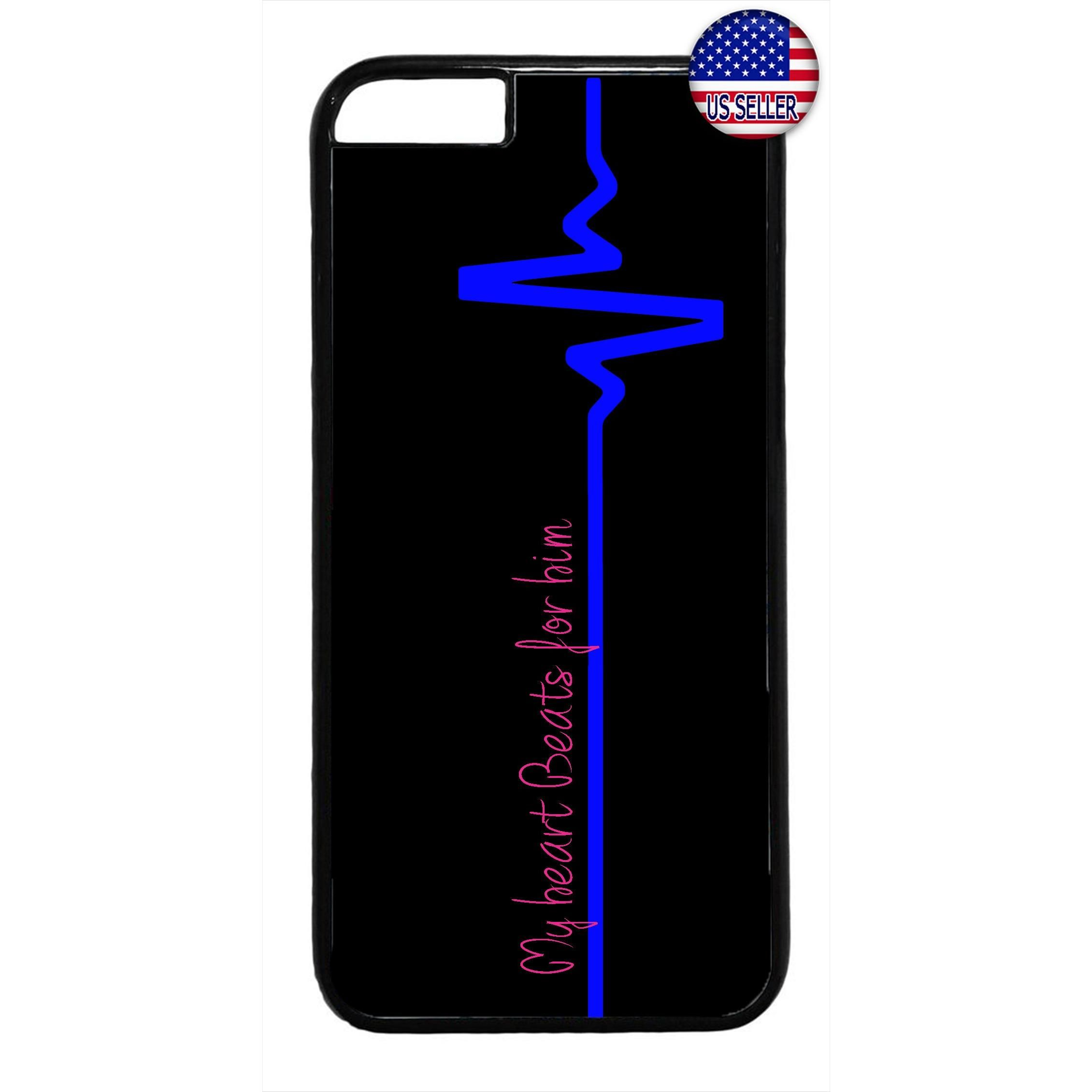 Police Hear Beat Blue Line Rubber Case Cover For Iphone
