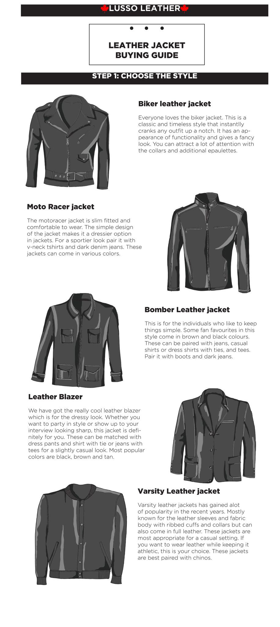 e14cf9985864 Leather jacket Buying guide from Lusso Leather. Buy leather jackets on SALE  for $146 USD #leather #leatherjacket #infographic