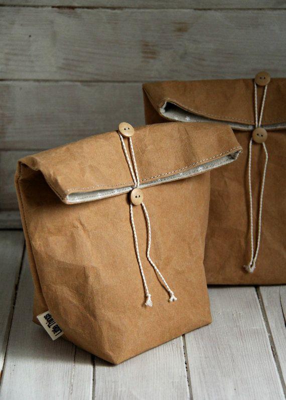 Lunch Bag Kraft Paper Fabric Stars Food от LittleThingsJenAnt More 3a5cbc8a0f571