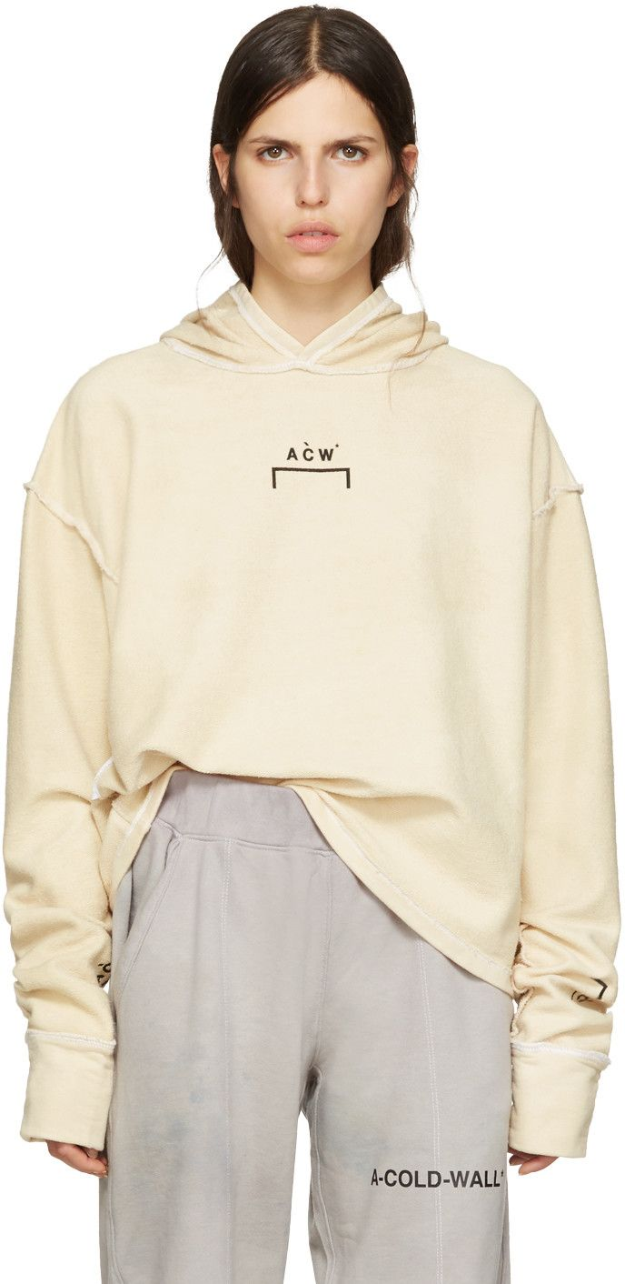dc5135b7 A-Cold-Wall* - Reversible Beige Oversized Logo Hoodie   Places to Visit