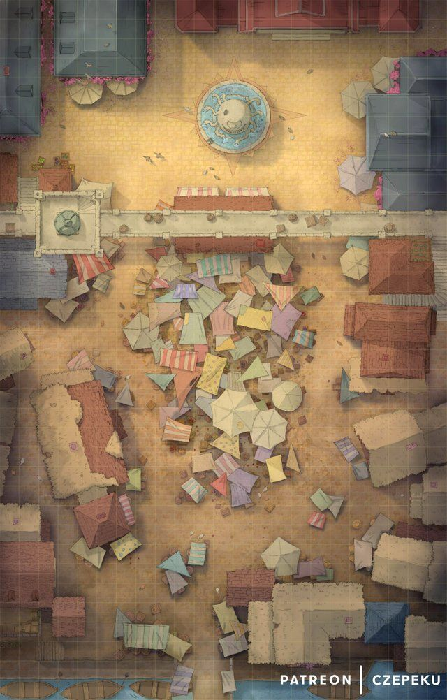 City Marketplace Battlemap 23x36 Dungeons And Dragons Rollespil