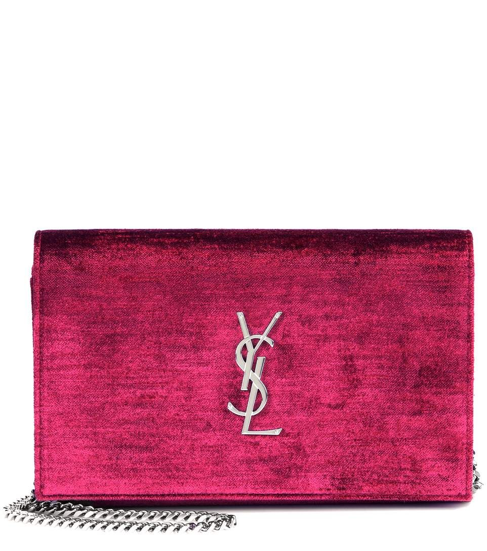 Saint Laurent - Velvet Chain wallet -  Complete with a chain shoulder strap, this piece is perfect for carrying your essentials. - @ www.mytheresa.com