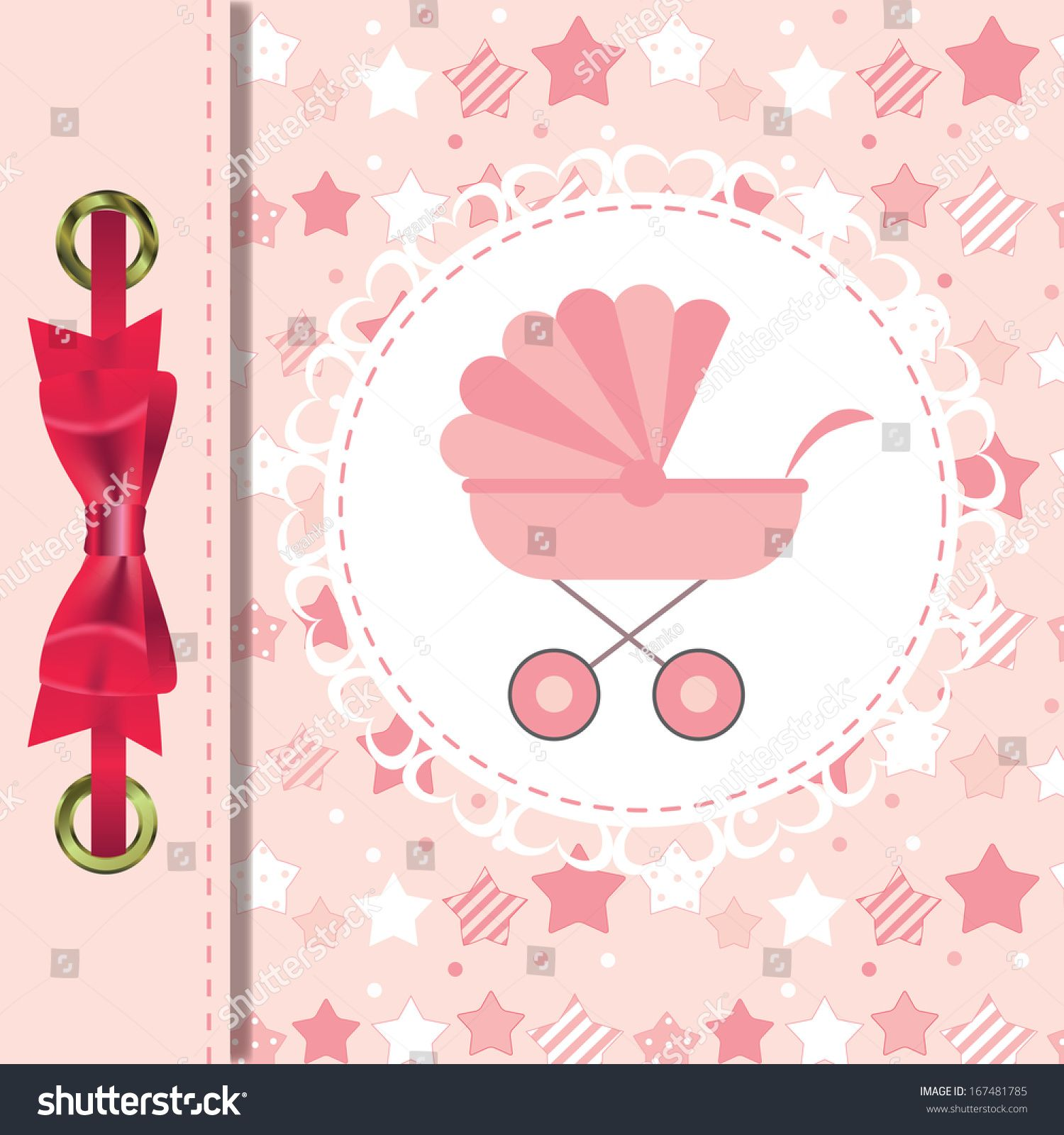 Photo of Vector Illustration Pink Baby Carriage Newborn Stock Vector