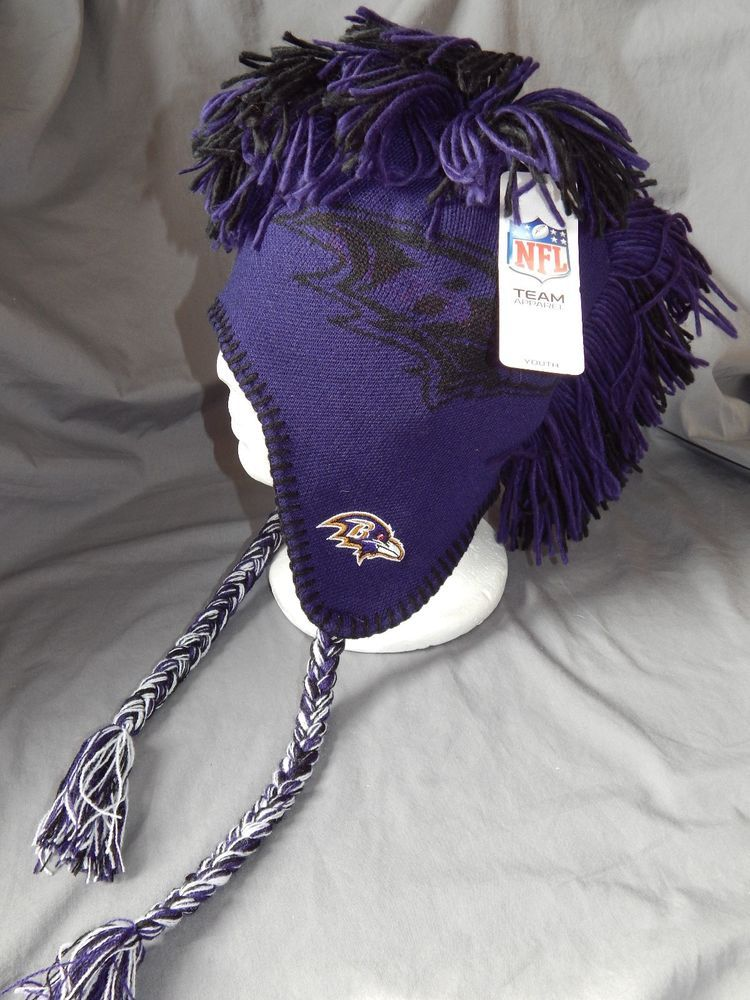 Baltimore Ravens Youth Size 8 20 NFL Mohawk Beanie Winter Hat Ear