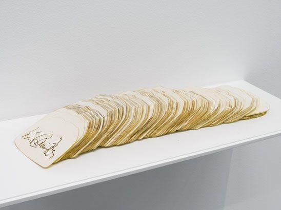 "Luis Camnitzer, ""Signature by the Slice,"" 1971/2007, laser-cut paper"