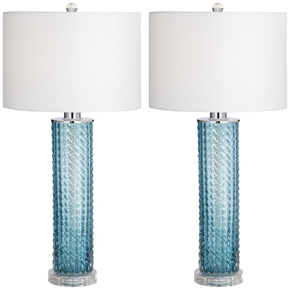 Blue glass table lamps  Renzo BlueSea Glass Table Lamp Set of   Style  J  Products