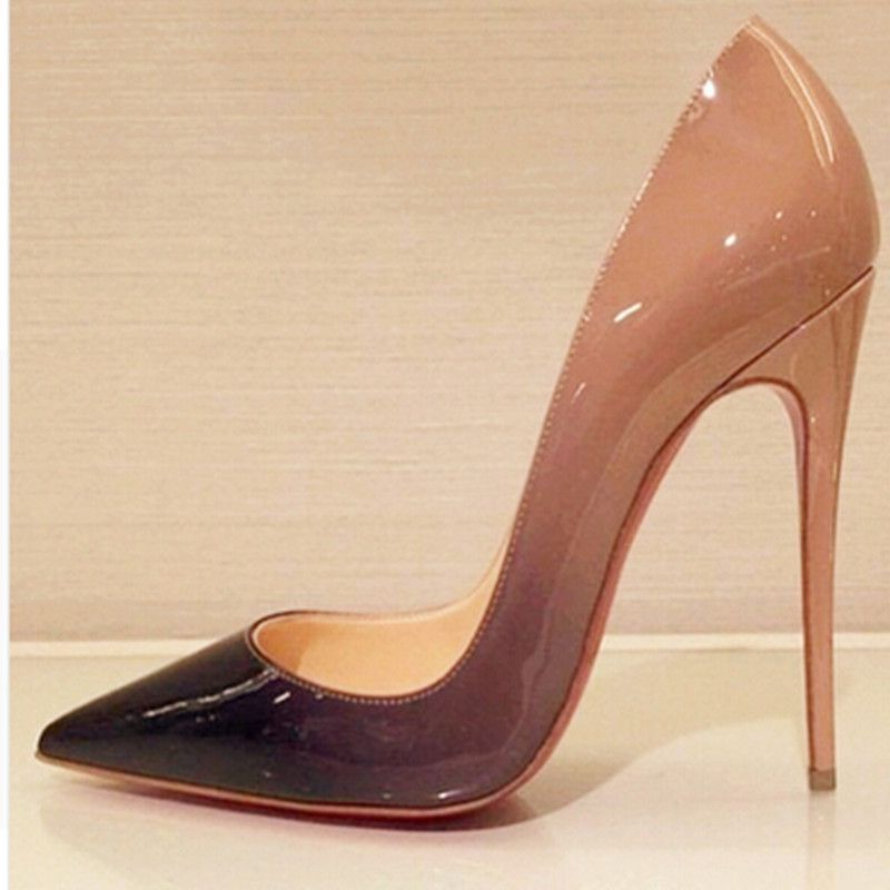 Top Quality Women Pumps Cow Muscle Red Bottom High Heels Sexy Pointed Toe  Red Sole Wedding Shoes Size 12 Heels Plus Size 34 46
