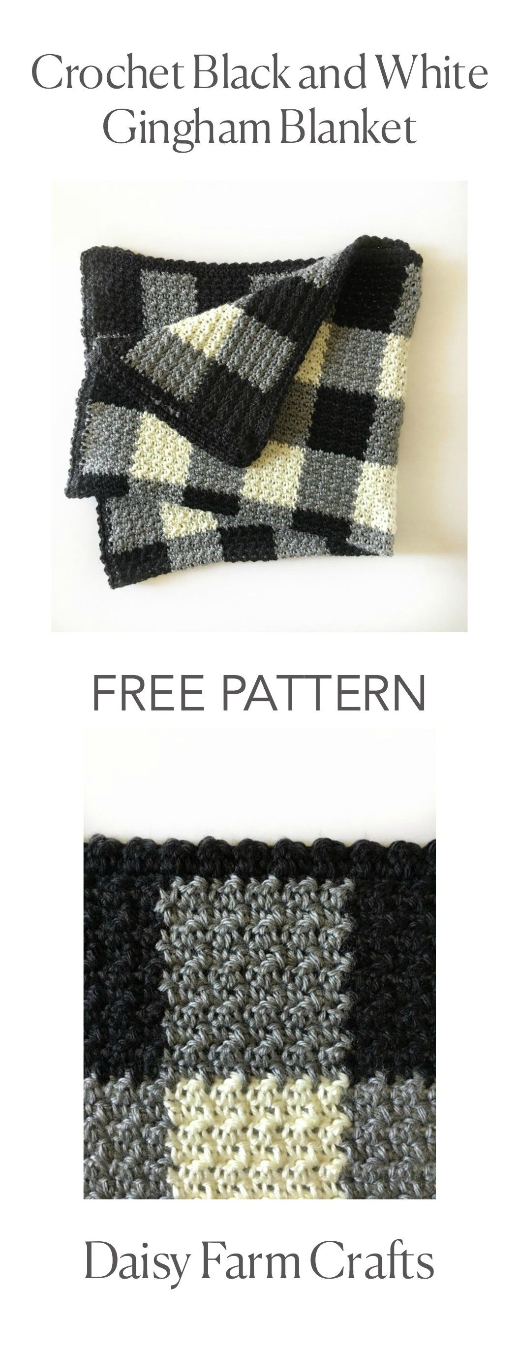 FREE PATTERN - Crochet Black and White Gingham Blanket | Chalecos ...