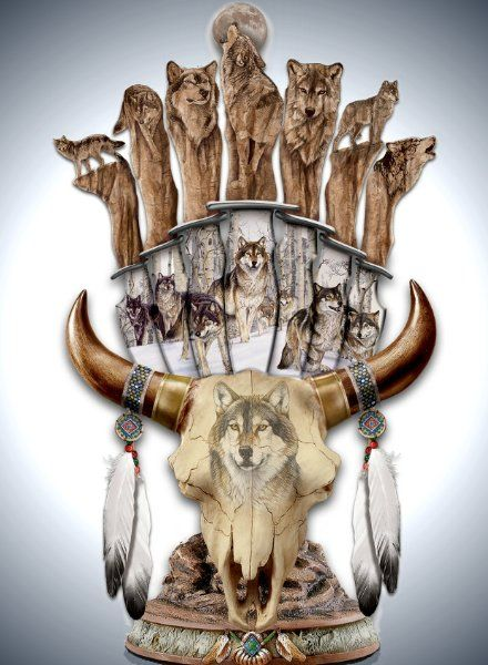 Head Dress Wolf Native American Replica Wall Sculpture Glow in the Dark NEW