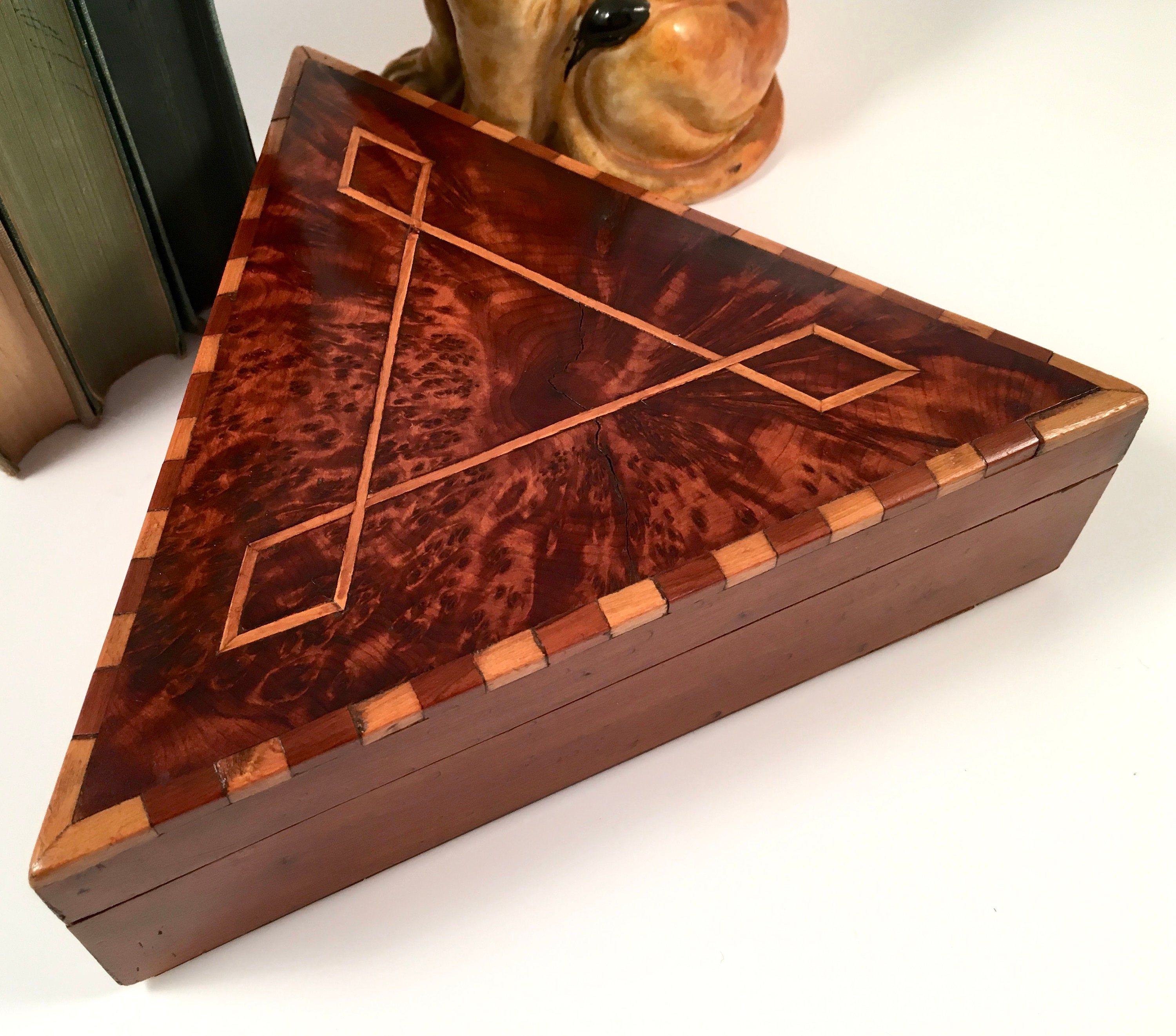 Luxe Triangular Shaped Wooden Box Burl Wood Lid Inlaid Etsy Wooden Box With Lid Wooden Boxes Decorative Wooden Boxes