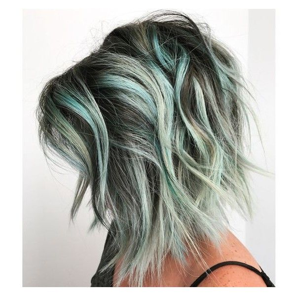 Silver Green Ombre Hair ❤ liked on Polyvore featuring ...
