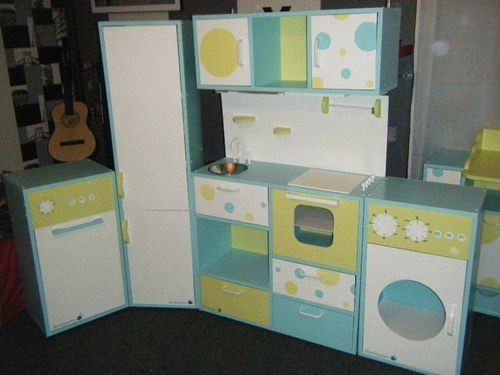 Meuble pour enfant - Ensemble cuisine avec frigo, machine a laver et ...