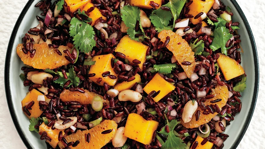 Black Rice Salad With Mango And Peanuts Recipe Mango Salad Rice Salad Healthy Cooking