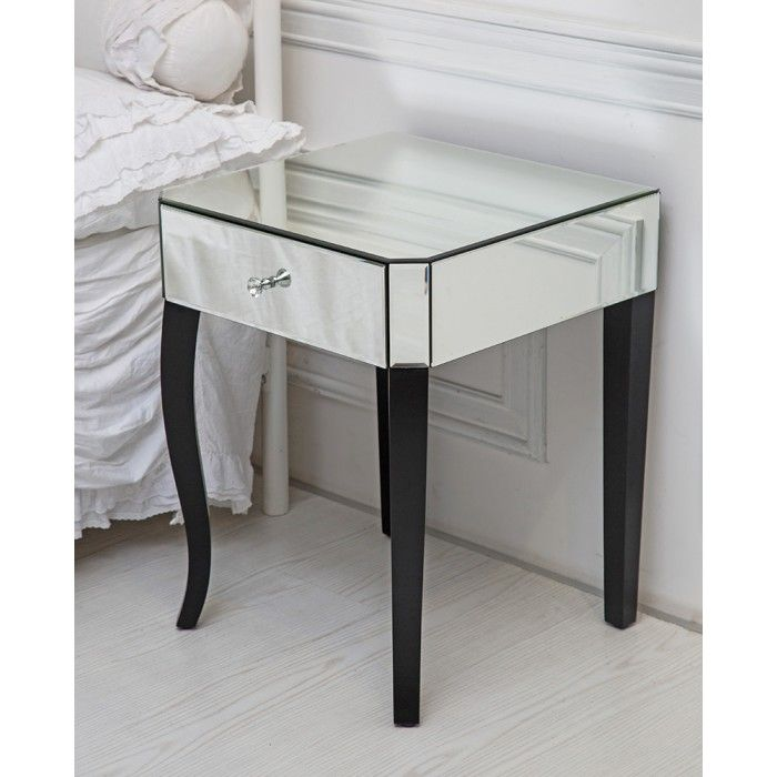 Single Drawer Mirrored Side Table With Contrasting Black Legs